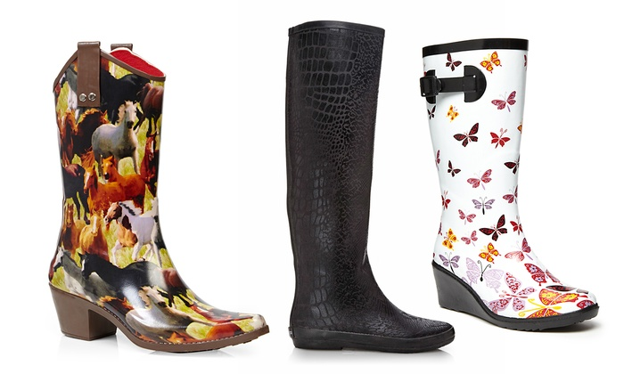 Henry Ferrera Patterned Rain Boots Brought To You By Ideel Groupon Enchanting Patterned Rain Boots