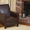Dark Brown Bonded Leather Recliner Club Chair