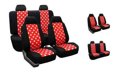 Shop Groupon Full Set Of Flat Cloth Polka Dot Car Seat Covers