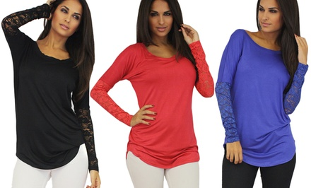 Scoop-Neck Lacy Long-Sleeved Top