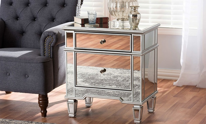 mirrored nightstand. hollywood regency glamour style mirrored nightstand