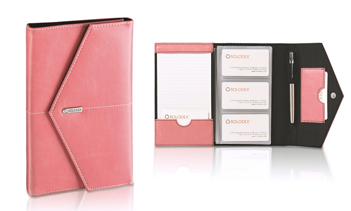 Rolodex pink business card book groupon goods rolodex pink faux leather business card book colourmoves
