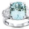 7.36 CTTW Diamond and Aquamarine Ring in 14K Gold