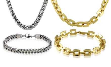 2-Piece Men's Stainless Steel Necklace and Bracelet Set. Multiple Styles Available. Free Returns.