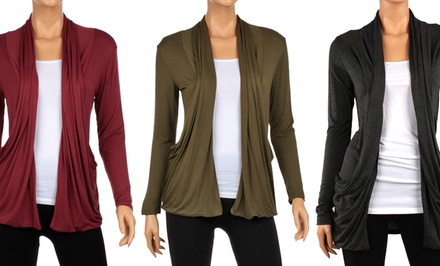 Women's Draped Cardigan with Pockets