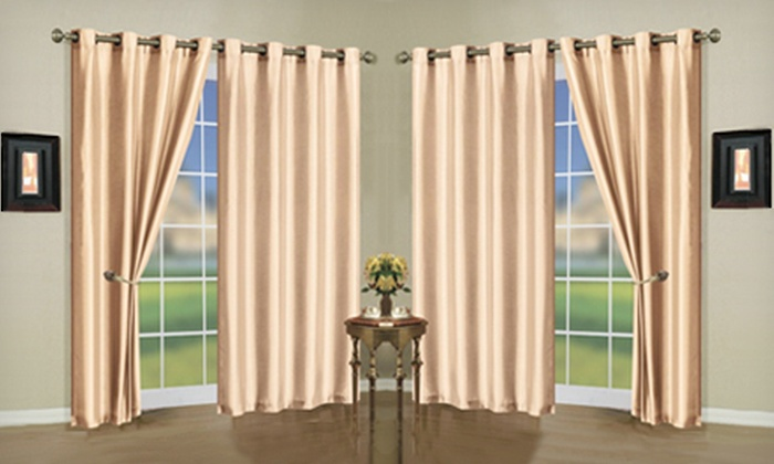 "Faux Silk Mira Curtain Panels: $18 for Two 58""x84"" Faux Silk Mira Curtain Panels with Grommets ($39.99 List Price). 15 Colors Available. Free Shipping."
