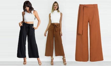 Hose aus Satin mit Stoffgürtelund weitem Bein für Damen in Khaki oder Schwarz