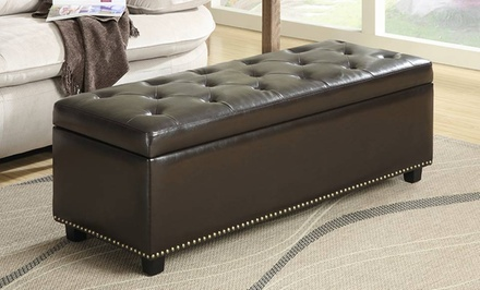 Simpli Home Hamilton Dark-Brown Bonded-Leather Storage Ottoman