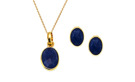 18K Gold Plated Genuine Gemstone Pendant and Earrings Set