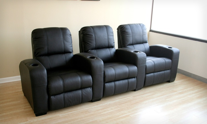 Broadway Leather Home-Theater Recliner Set: $1,199 for a Set of Three Baxton Studio Broadway Leather Home-Theater Recliners ($2,333 List Price)