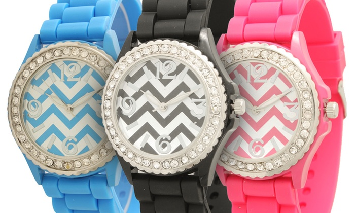 Chevron-Print Crystal-Embellished Watch: $7.99 for a Chevron-Print Crystal-Embellished Silicone Watch ($24.99 List Price). Multiple Colors. Free Returns.