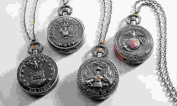 """Strada Military Pocket Watch with Chain: $8.99 for a Strada Air Force, Army, Marines, or Navy Pocket Watch with 32"""" Chain ($75 List Price). Free Returns."""