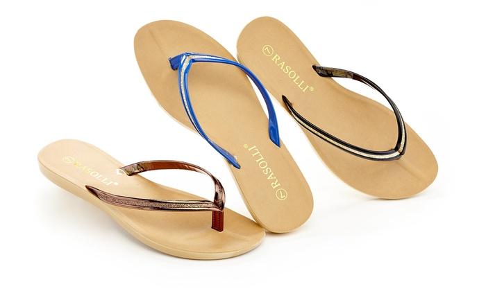 Rasolli Women's Footbed Comfort Flip-Flops (3-Pack) (Size 10)