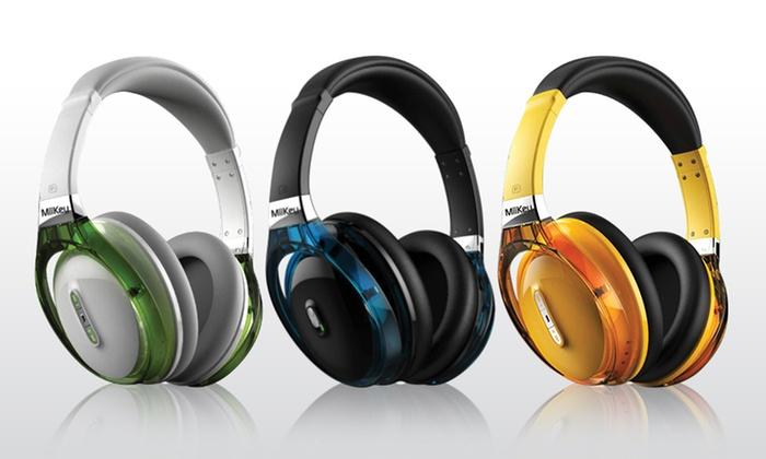 MiiKey Rhythm NFC Wireless Bluetooth Headphones: MiiKey Rhythm NFC Wireless Bluetooth Headphones in Black, White, or Yellow