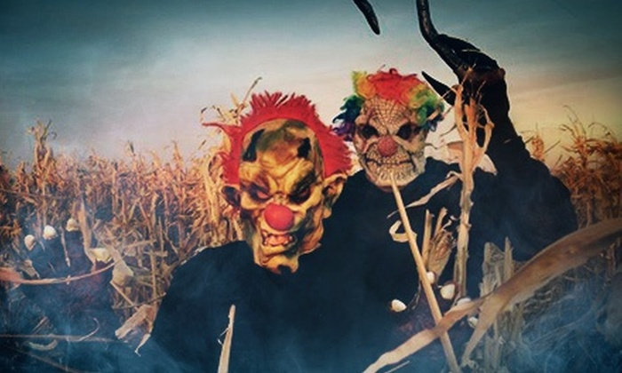 KC Fear Farm - Gardner: Five Haunted-Farm Attractions with a Drink, Nachos, and a Glow Stick for Two or Fourat KC Fear Farm (52% Off)