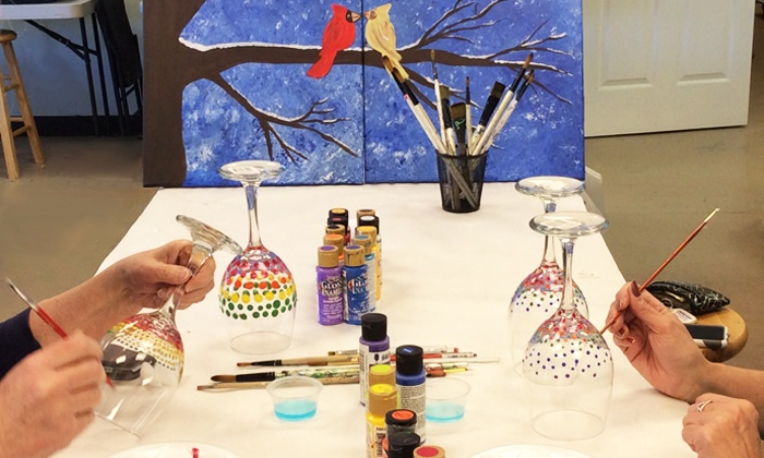 Objet d'Art Gallery & Studios - Peachtree Corners: Wine Glass Painting for One, Two or Four or BYOB Canvas Painting for Four at Objet d'Art (Up to 54% Off)