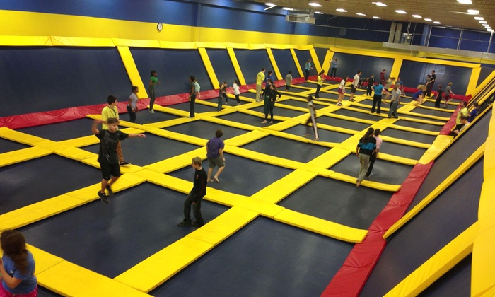 Sky High Sports - Pineville: Two Hours of Trampoline Jump Time for 1 or 1-Hour of Private Court Time for 10 at Sky High Sports (Up to 50% Off)