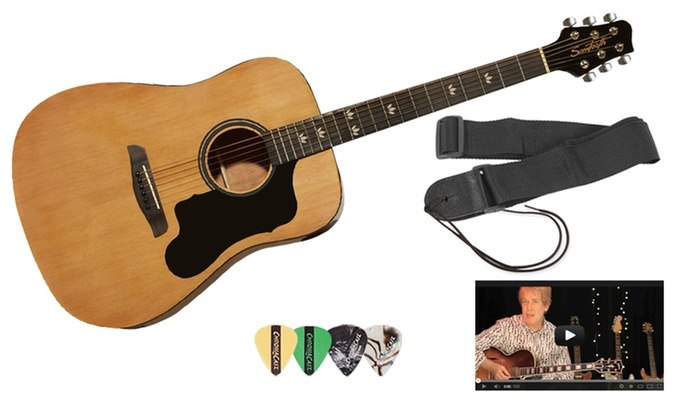 Sawtooth Acoustic Guitar Set, Strap, Online Lessons, and Pick Sampler Pack: Sawtooth Acoustic Guitar Set with BlackPickguard, Strap, Online Lessons, and Pick Sampler Pack. Free Returns.