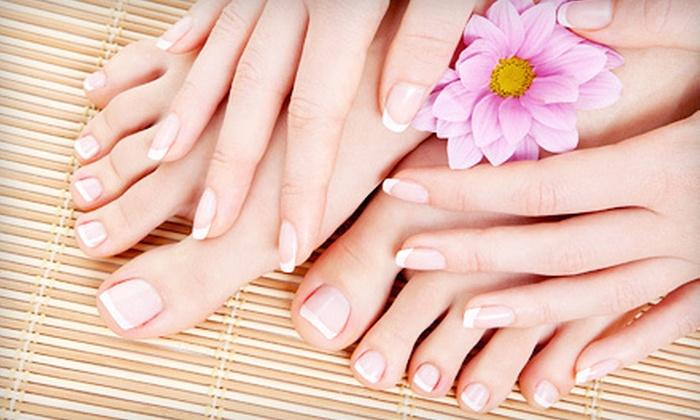 Moda Nail Spa - Knoxville: Mani-Pedi, Organic Pink and White Faux Nails, or a Shellac Manicure at Moda Nail Spa (Up to 56% Off)