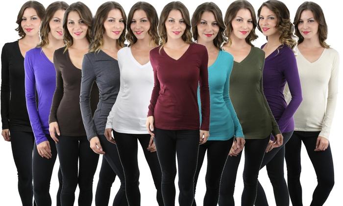 Women's Basic V-Neck Long-Sleeve T-Shirt