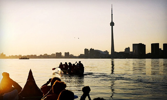 Harbourfront Canoe and Kayak Centre - Toronto Downtown Waterfront: $45 for a Sunset and Weekend Voyageur Canoe Tour for Two from Harbourfront Canoe and Kayak Centre ($107.35 Value)