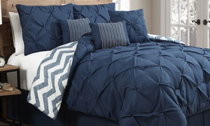 7-piece Reversible Pinch-pleat Comforter Set