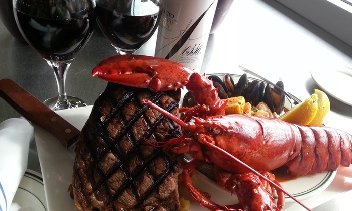 Stella's Fish Cafe - Uptown: Surf 'n' Turf Meal with Wine or Seafood and Drinks at Stella's Fish Cafe (Up to 50% Off). Five Options Available.