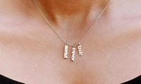 Personalized One-, Two-, or Three-Pendant Mini-Name-Plate Necklace from Monogramhub.com (Up to 75% Off)