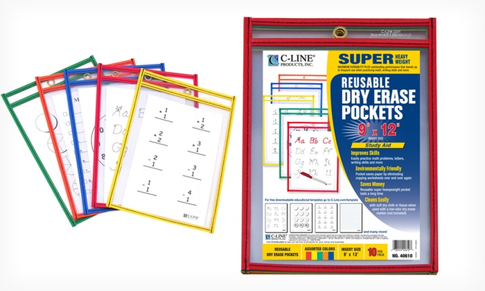 Reusable Dry-Erase Worksheet Pouches: Set of 10 Small or Large C-Line Reusable Dry Erase Worksheet pouches. (53% off) Free Returns