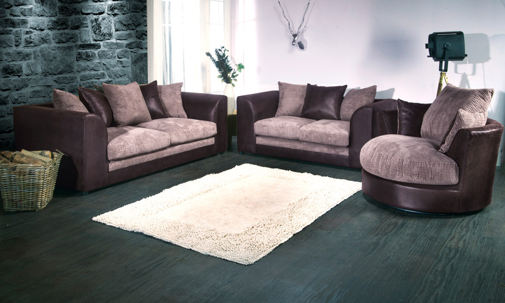 Two And Three Seater Sofa With Swivel Chair In Black Grey