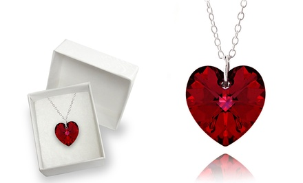 Swarovski Elements Ruby Red Heart Pendant