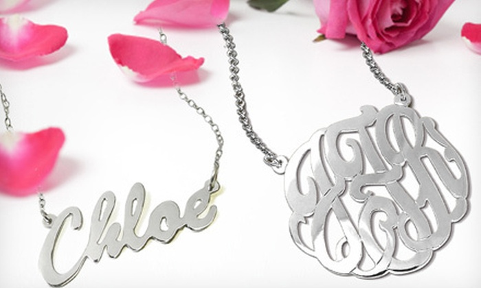 ShopOnlineDeals.com: Sterling-Silver Necklace with Name or Monogram Pendant from ShopOnlineDeals.com (Up to 62% Off)