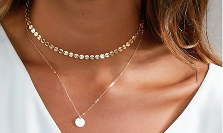 Gold-Coloured Double Necklace