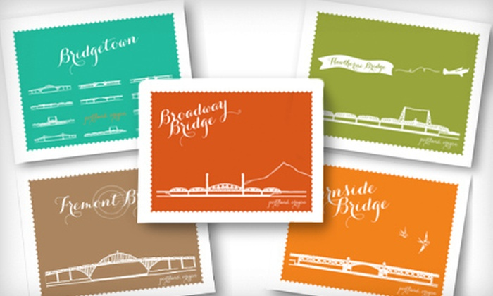 Cardgirl: 10 or 20 Note Cards with Designs of Portland Bridges from Cardgirl (Up to 58% Off)