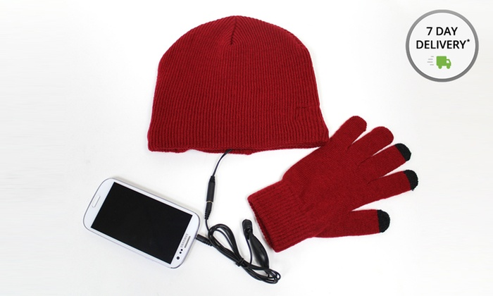 Beanie Headphones and Touchscreen Gloves Bundle: Beanie Headphones and Touchscreen Gloves Bundle in Black, Cream, Gray, or Red. Free Returns.