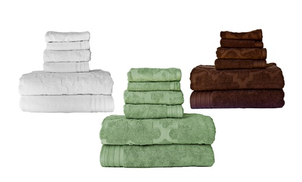 groupon daily deal - 6-Piece Egyptian Cotton Jacquard Towel Sets. Free Returns.