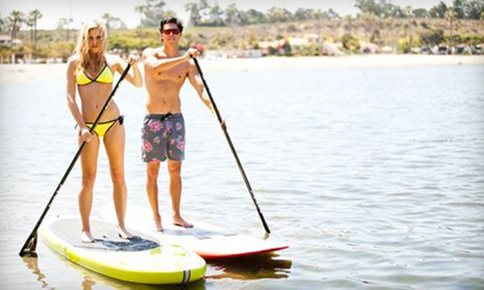 Pirate Coast Paddle Co. - Bayside: 2-Hour Standup-Paddleboard Rental for One or Two or 10 Hours of Rentals at Pirate Coast Paddle Co. (Up to 63% Off)