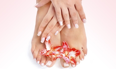Deluxe Manicure or SNS with Pedicure and One Paraffin Dip Wax for Hands at Aura Nails And Spa (Up to...