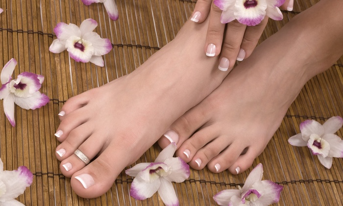 Edge Salon & Spa - Clarendon - Courthouse: Lavender Mani-Pedi with Paraffin Treatment, Orange Blossom Massage, or Both at Edge Salon & Spa (Up to 65% Off)