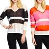 525 America Women's Semi-Sheer Linen V-Neck Sweater