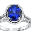 3.40 CTTW Oval-Cut Blue Sapphire and Diamond Ring