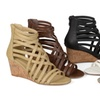 Journee Collection Women's Strappy Faux Leather Wedges
