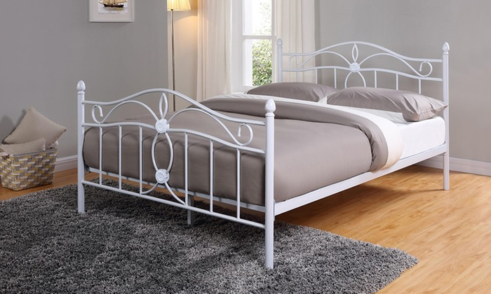 White metal bed frame groupon goods for Beds groupon