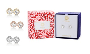 Angélique Paris White Sapphire and Diamond Earrings in Sterling Silver