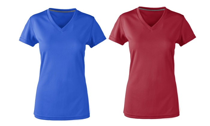 c6ac52a8424 Zorrel Women s V-Neck Performance Active Tee (2-Pack)