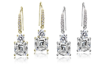 Asscher-Cut Cubic Zirconia Dangle Earrings in 18K Gold-Plated Sterling Silver