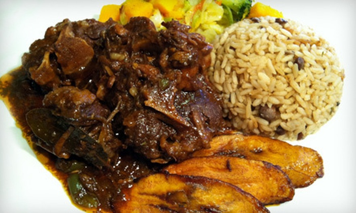 Sattdown Jamaican Grill - Studio City: Jamaican Food and Drinks at Sattdown Jamaican Grill (52% Off). Two Options Available.
