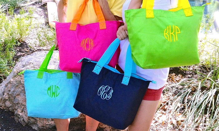 Embellish Accessories and Gifts: One or Two Monogrammed Totes from Embellish Accessories and Gifts (Up to 58% Off)