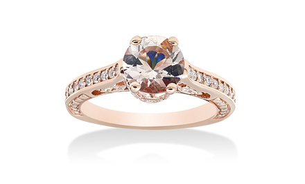 1.25 CTTW Morganite & Diamond Ring in 14K Rose Gold