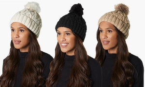 Women's Cold Weather Cable Knit Beanie Hat with Faux Fur Pom